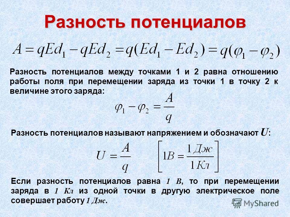Разность потенциалов Разность потенциалов между точками 1 и 2 равна отношению работы поля при перемещении заряда из точки 1 в точку 2 к величине этого заряда: Разность потенциалов называют напряжением и обозначают U : Если разность потенциалов равна