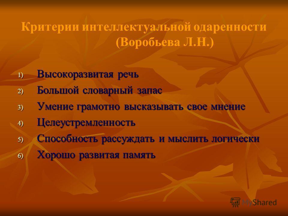 Критерии интеллектуальной одаренности (Воробьева Л.Н.) 1) Высокоразвитая речь 2) Большой словарный запас 3) Умение грамотно высказывать свое мнение 4) Целеустремленность 5) Способность рассуждать и мыслить логически 6) Хорошо развитая память