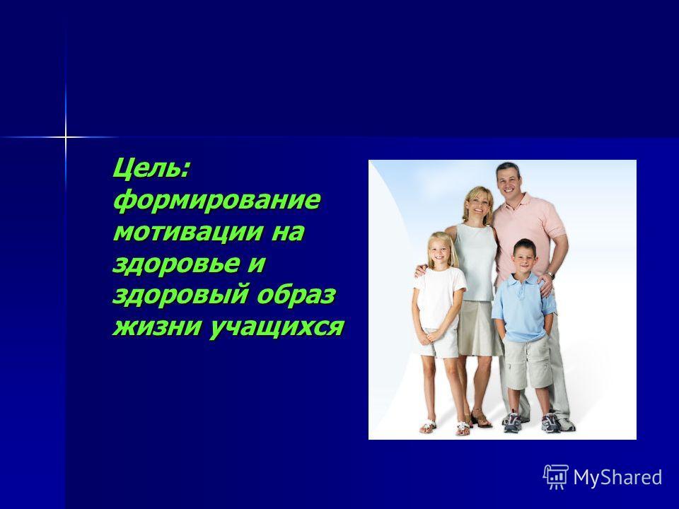 Цель: формирование мотивации на здоровье и здоровый образ жизни учащихся Цель: формирование мотивации на здоровье и здоровый образ жизни учащихся