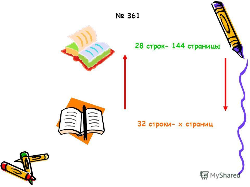 28 строк- 144 страницы 32 строки- x страниц 361