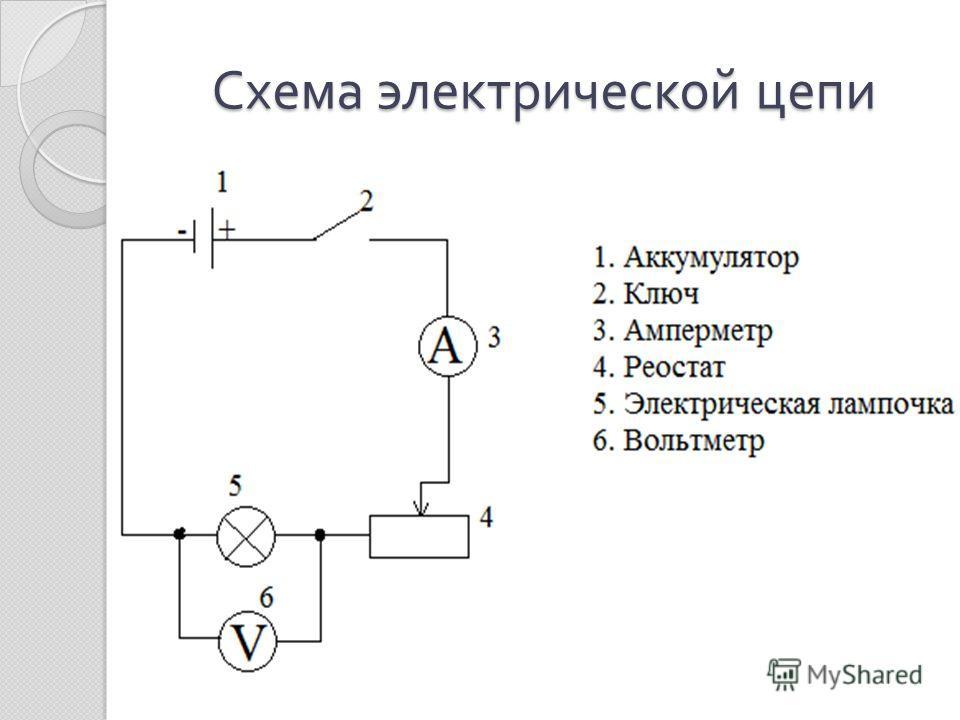 нарисуйте принципиальную электрическую схему цепи состоящие