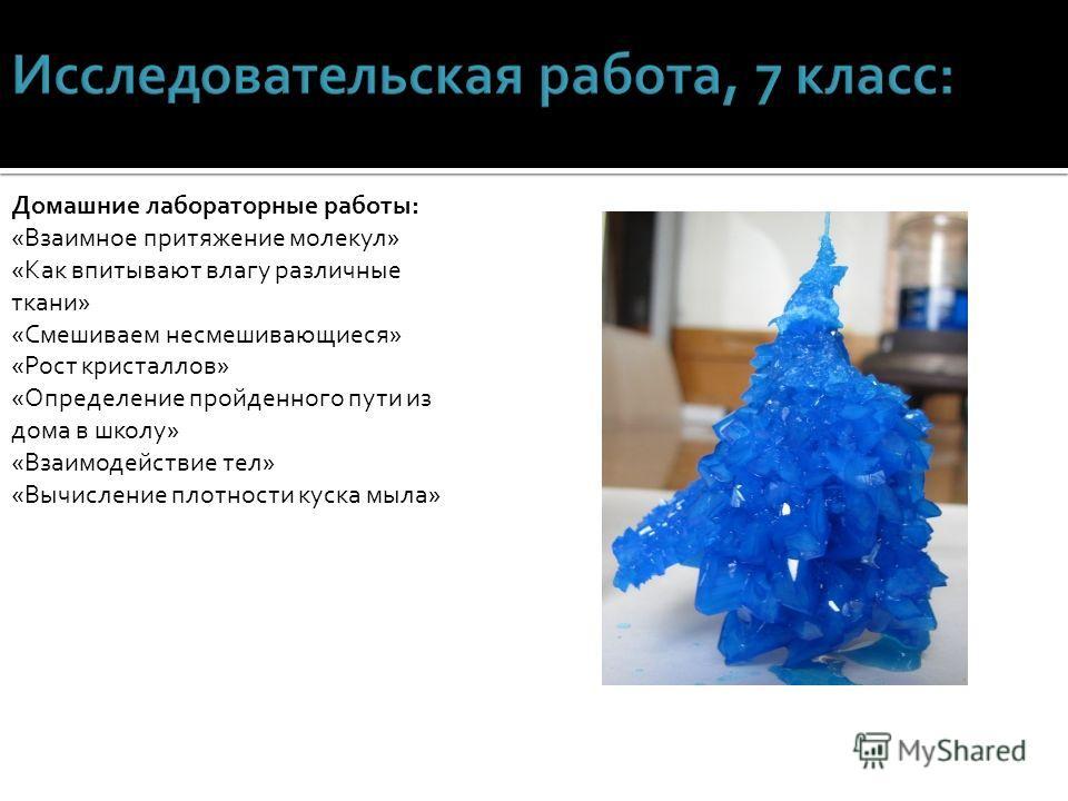 Домашние лабораторные работы: «Взаимное притяжение молекул» «Как впитывают влагу различные ткани» «Смешиваем несмешивающиеся» «Рост кристаллов» «Определение пройденного пути из дома в школу» «Взаимодействие тел» «Вычисление плотности куска мыла»