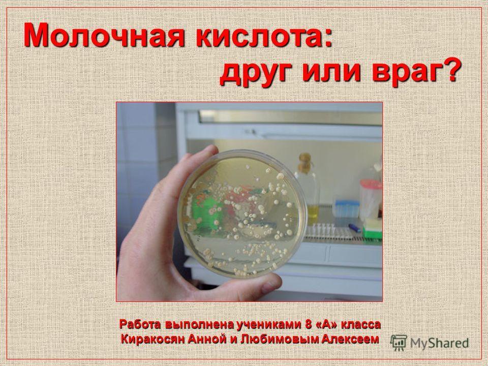 Молочная кислота: друг или враг? Работа выполнена учениками 8 «А» класса Киракосян Анной и Любимовым Алексеем