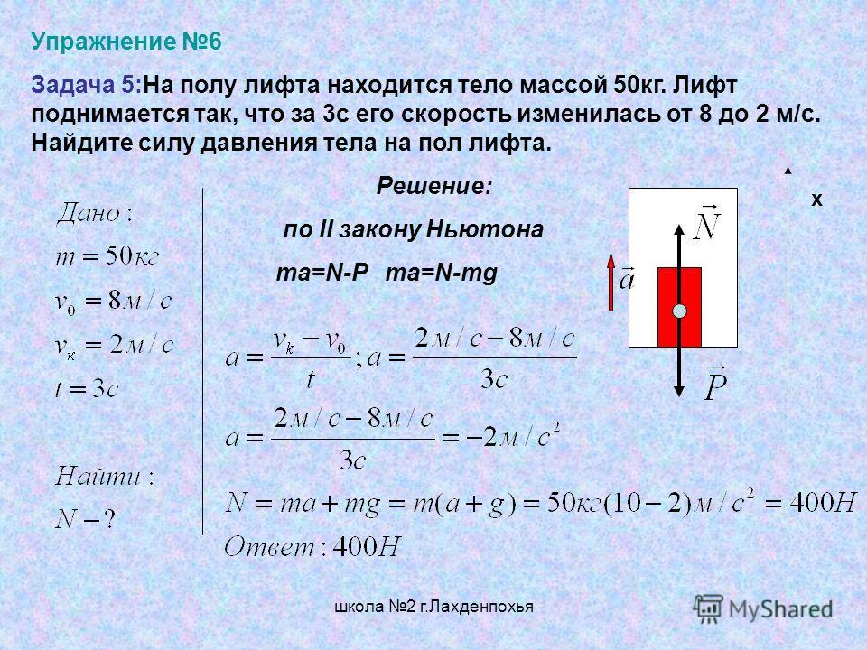 школа 2 г.Лахденпохья Упражнение 6 Задача 5:На полу лифта находится тело массой 50кг. Лифт поднимается так, что за 3с его скорость изменилась от 8 до 2 м/с. Найдите силу давления тела на пол лифта. Решение: по II закону Ньютона ma=N-P ma=N-mg х