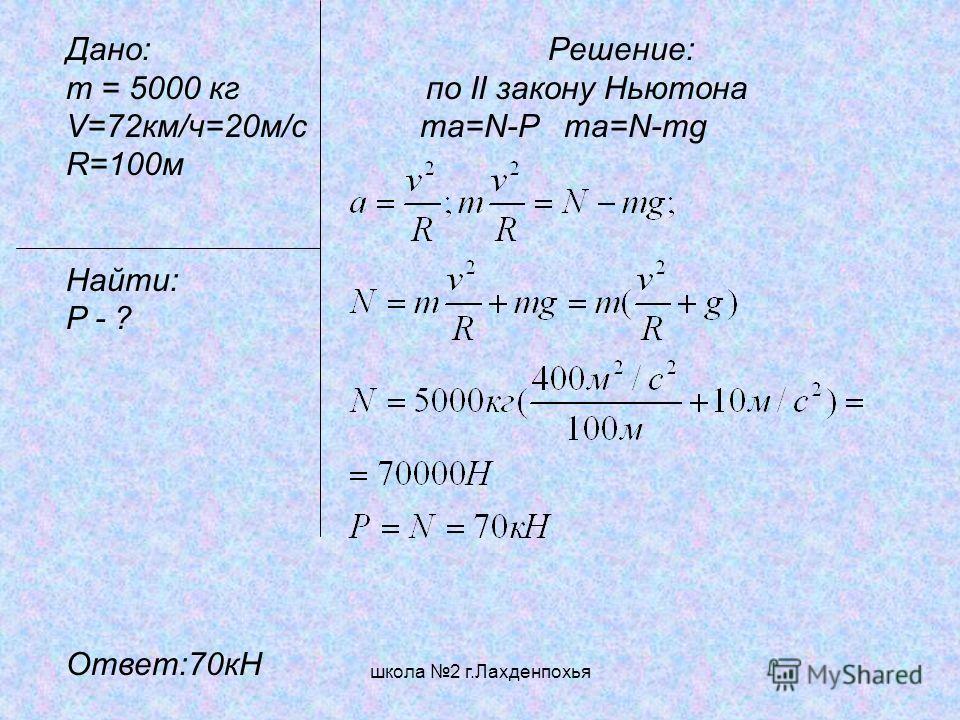 школа 2 г.Лахденпохья Дано: Решение: m = 5000 кг по II закону Ньютона V=72км/ч=20м/c ma=N-P ma=N-mg R=100м Найти: P - ? Ответ:70кН