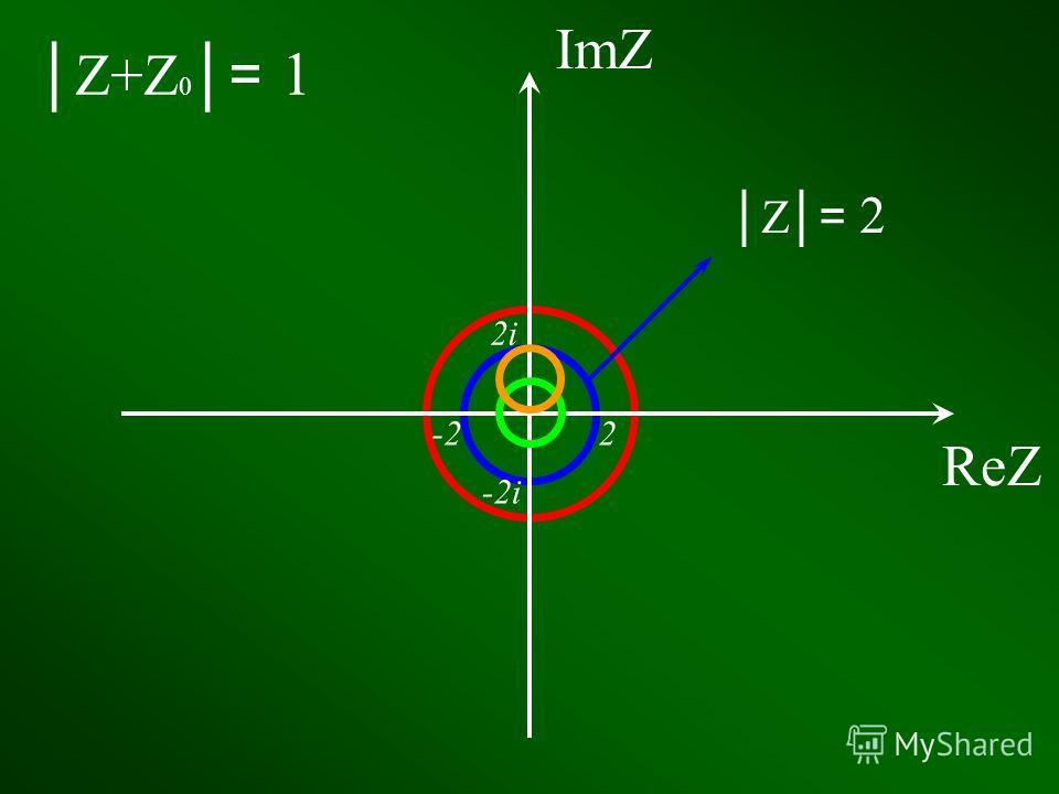 Изобразите на комплексной плоскости все такие точки Z 0, что среди чисел Z, удовлетворяющих уравнению Z+Z 0= 1, есть ровно одно число, модуль которого равен 2.
