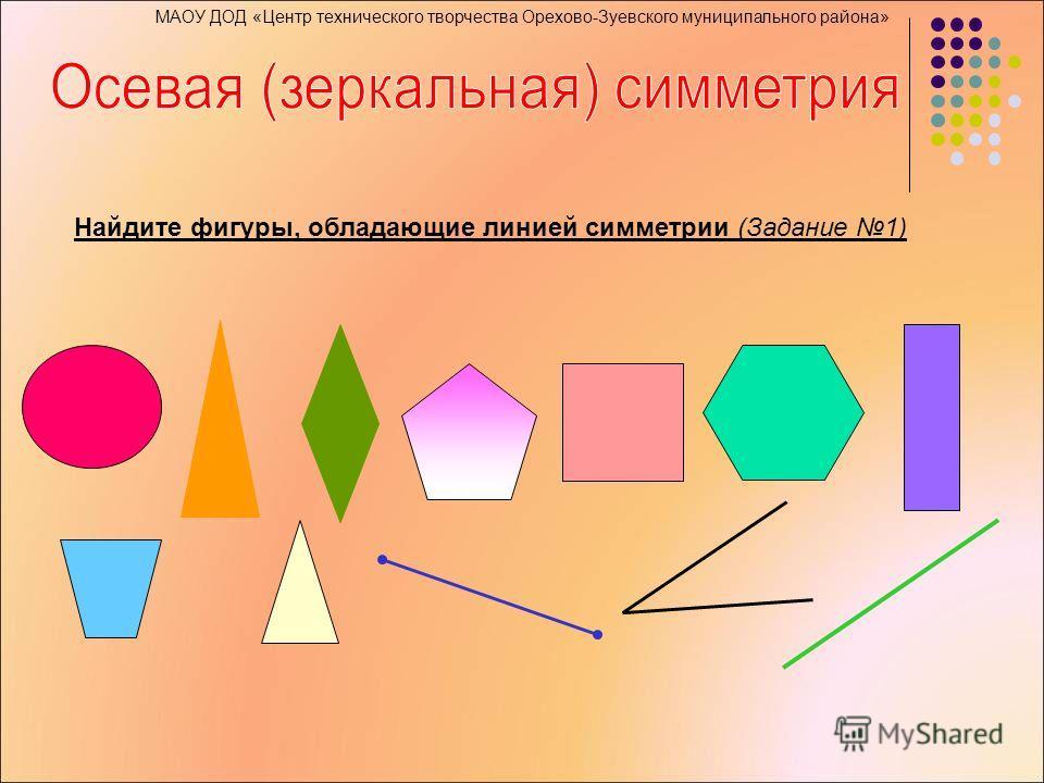 Найдите фигуры, обладающие линией симметрии (Задание 1)