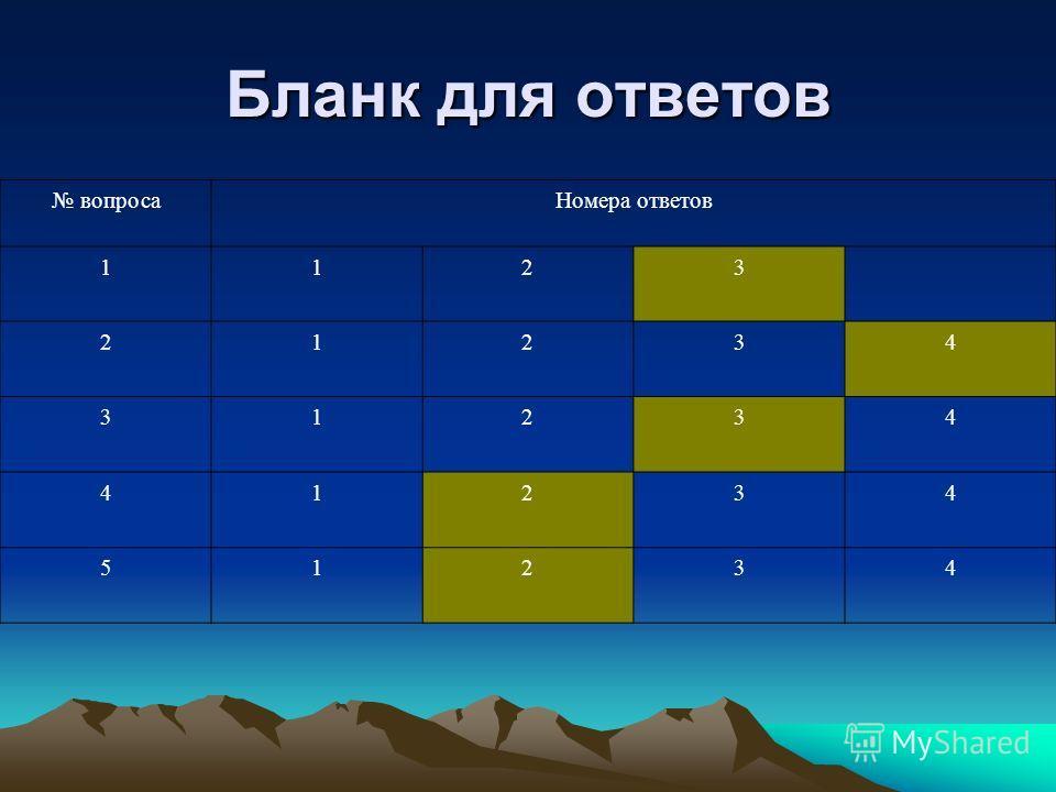 Бланк для ответов вопросаНомера ответов 1123 21234 31234 41234 51234