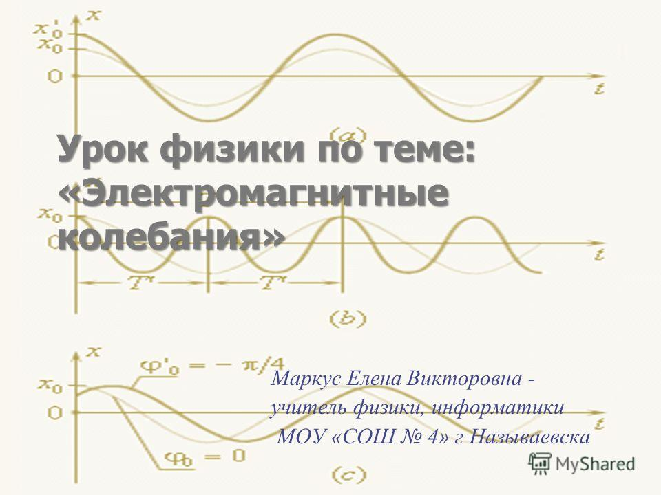 Урок физики по теме: «Электромагнитные колебания» Маркус Елена Викторовна - учитель физики, информатики МОУ «СОШ 4» г Называевска