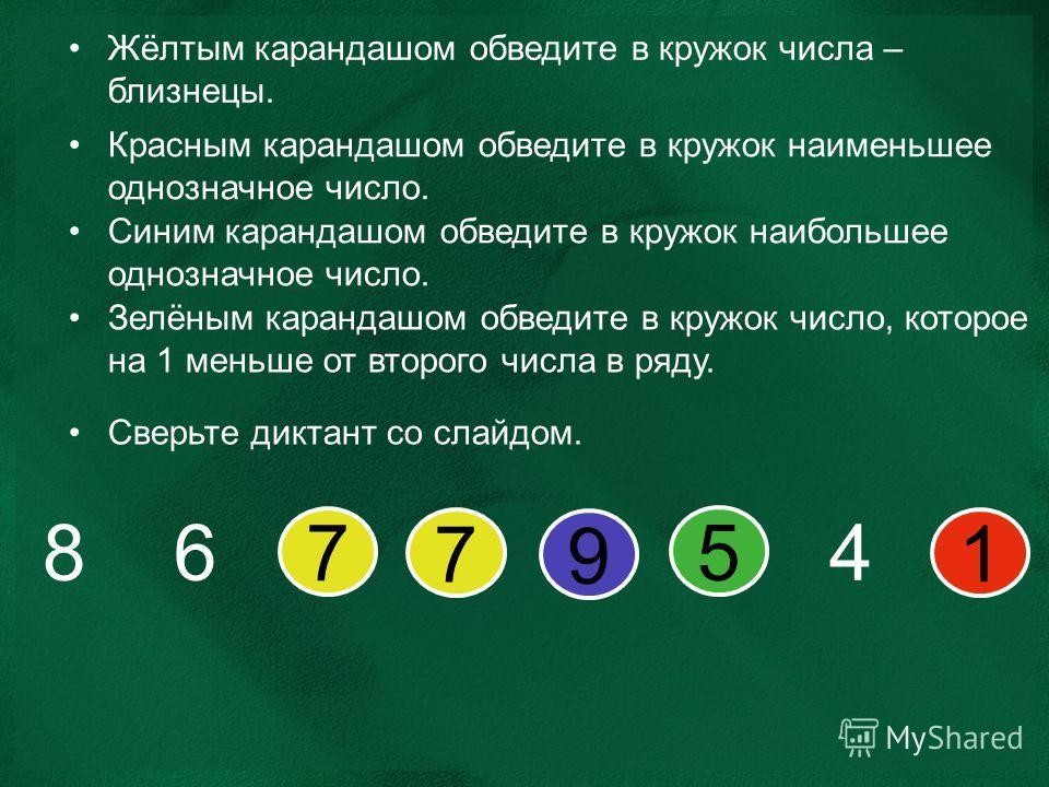 Жёлтым карандашом обведите в кружок числа – близнецы. Красным карандашом обведите в кружок наименьшее однозначное число. Синим карандашом обведите в кружок наибольшее однозначное число. Зелёным карандашом обведите в кружок число, которое на 1 меньше
