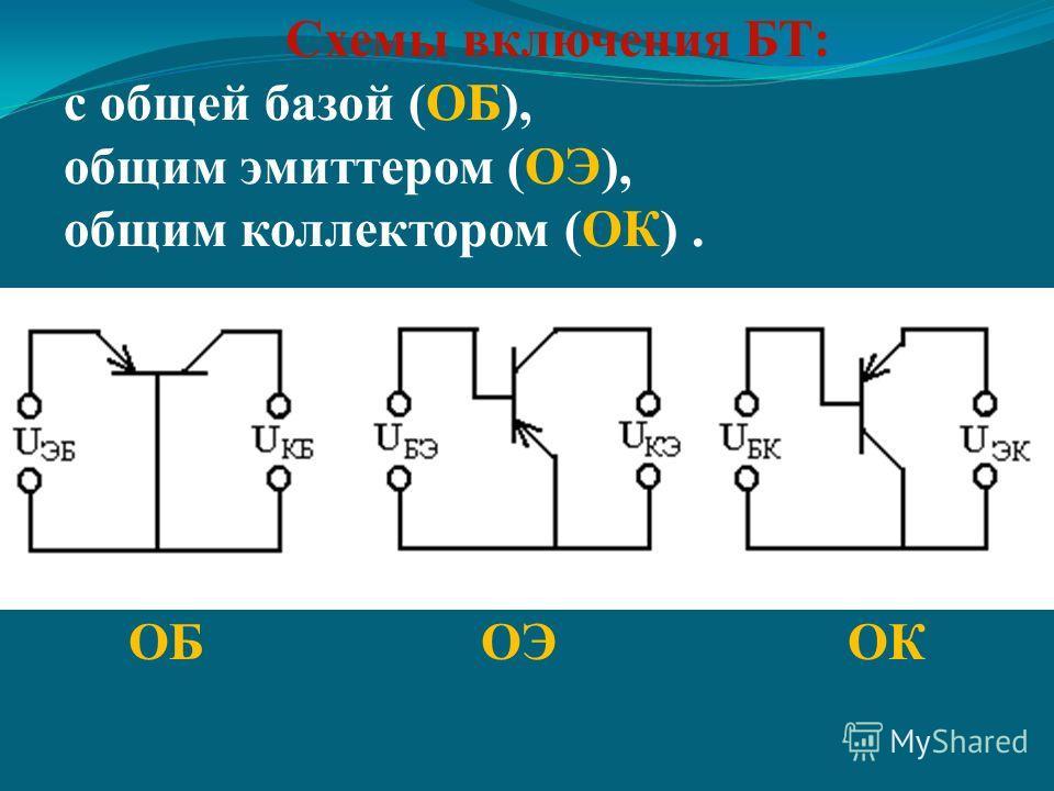 Схемы включения БТ: с общей базой (ОБ), общим эмиттером (ОЭ), общим коллектором (ОК). ОБ ОЭ ОК