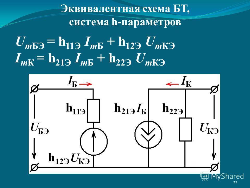 22 U mБЭ = h 11Э I mБ + h 12Э U mКЭ I mК = h 21Э I mБ + h 22Э U mКЭ Эквивалентная схема БТ, система h-параметров
