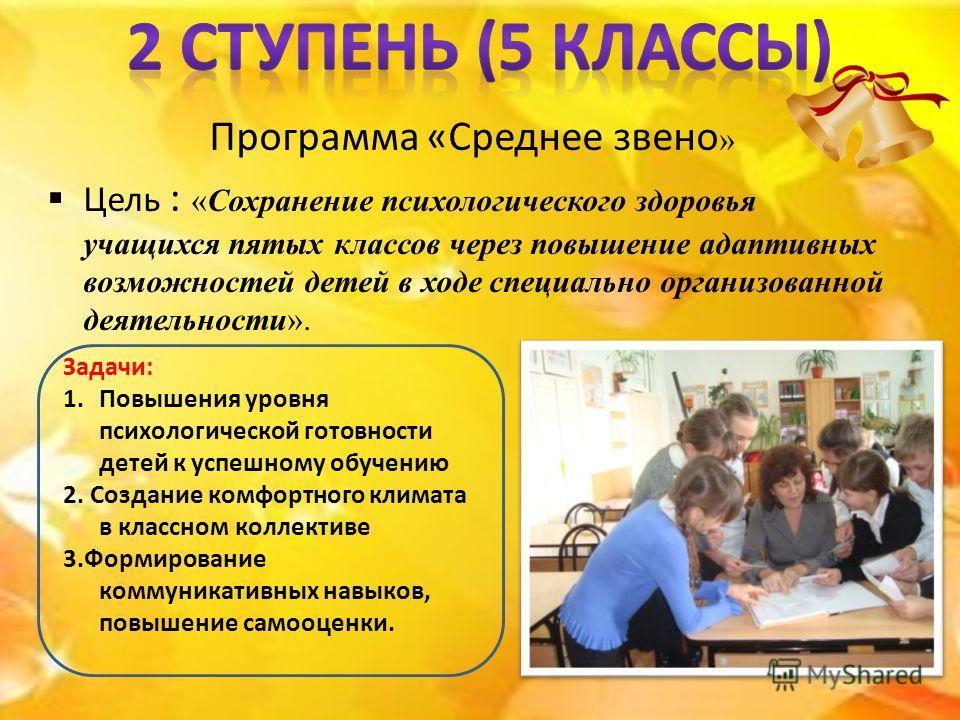 Программа «Среднее звено » Цель : «Сохранение психологического здоровья учащихся пятых классов через повышение адаптивных возможностей детей в ходе специально организованной деятельности». Задачи: 1.Повышения уровня психологической готовности детей к