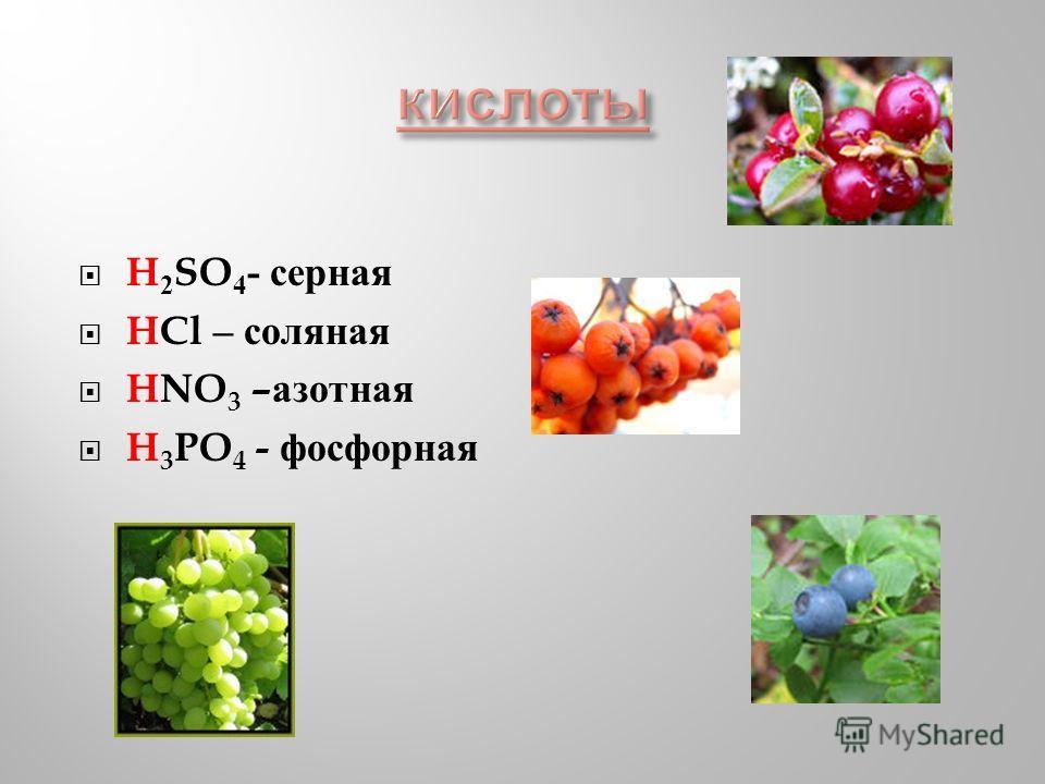 H 2 SO 4 - серная HCl – соляная HNO 3 – азотная H 3 PO 4 - фосфорная