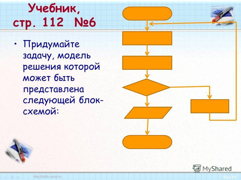 9 из 16 Учебник, стр. 112 6 Придумайте задачу, модель решения которой может быть представлена следующей блок- схемой: