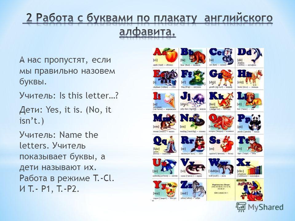 А нас пропустят, если мы правильно назовем буквы. Учитель: Is this letter…? Дети: Yes, it is. (No, it isnt.) Учитель: Name the letters. Учитель показывает буквы, а дети называют их. Работа в режиме T.-Cl. И T.- P1, T.-P2.