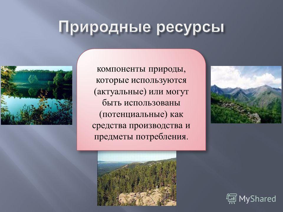 компоненты природы, которые используются (актуальные) или могут быть использованы (потенциальные) как средства производства и предметы потребления.