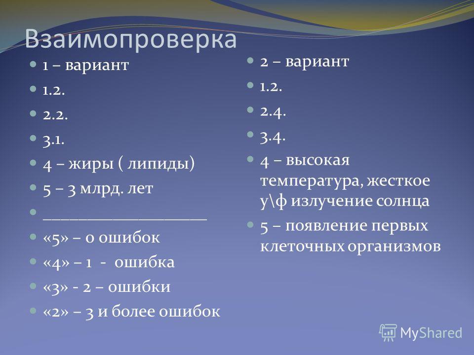 Взаимопроверка 1 – вариант 1.2. 2.2. 3.1. 4 – жиры ( липиды) 5 – 3 млрд. лет ___________________ «5» – 0 ошибок «4» – 1 - ошибка «3» - 2 – ошибки «2» – 3 и более ошибок 2 – вариант 1.2. 2.4. 3.4. 4 – высокая температура, жесткое у\ф излучение солнца