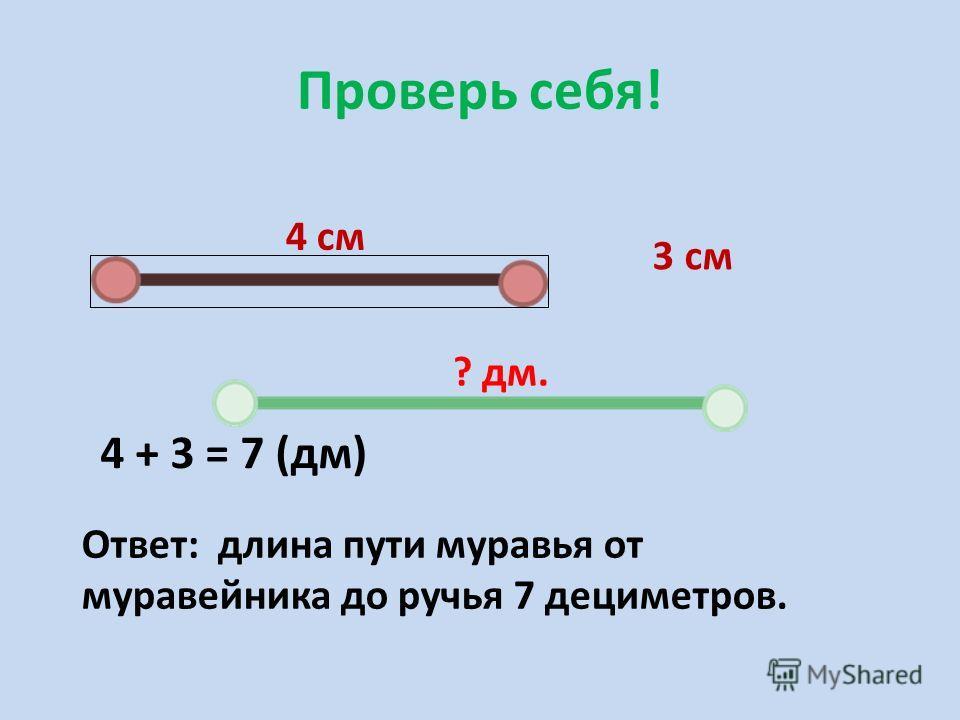 Проверь себя! 4 см 3 см ? дм. 4 + 3 = 7 (дм) Ответ: длина пути муравья от муравейника до ручья 7 дециметров.