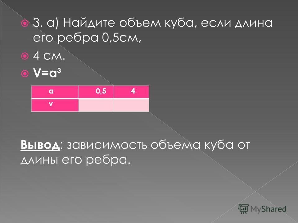 3. а) Найдите объем куба, если длина его ребра 0,5см, 4 см. V=a³ Вывод : зависимость объема куба от длины его ребра. а0,50,54 v