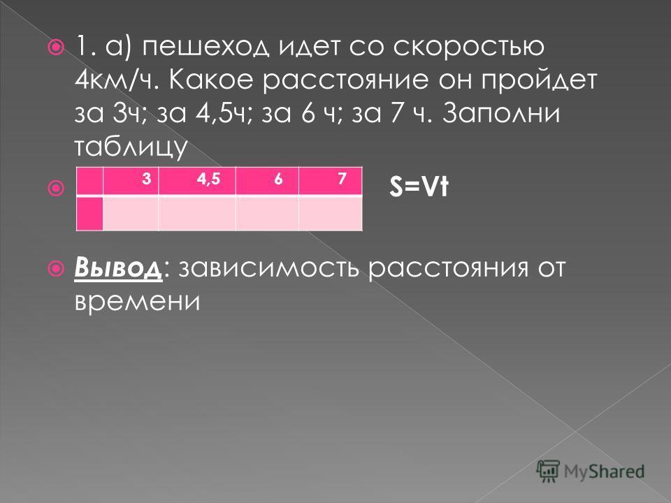 1. а) пешеход идет со скоростью 4км/ч. Какое расстояние он пройдет за 3ч; за 4,5ч; за 6 ч; за 7 ч. Заполни таблицу S=Vt Вывод : зависимость расстояния от времени t34,567 s