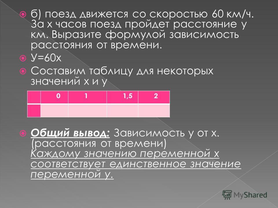 б) поезд движется со скоростью 60 км/ч. За х часов поезд пройдет расстояние y км. Выразите формулой зависимость расстояния от времени. У=60х Составим таблицу для некоторых значений х и у Общий вывод: Зависимость у от х. (расстояния от времени) Каждом