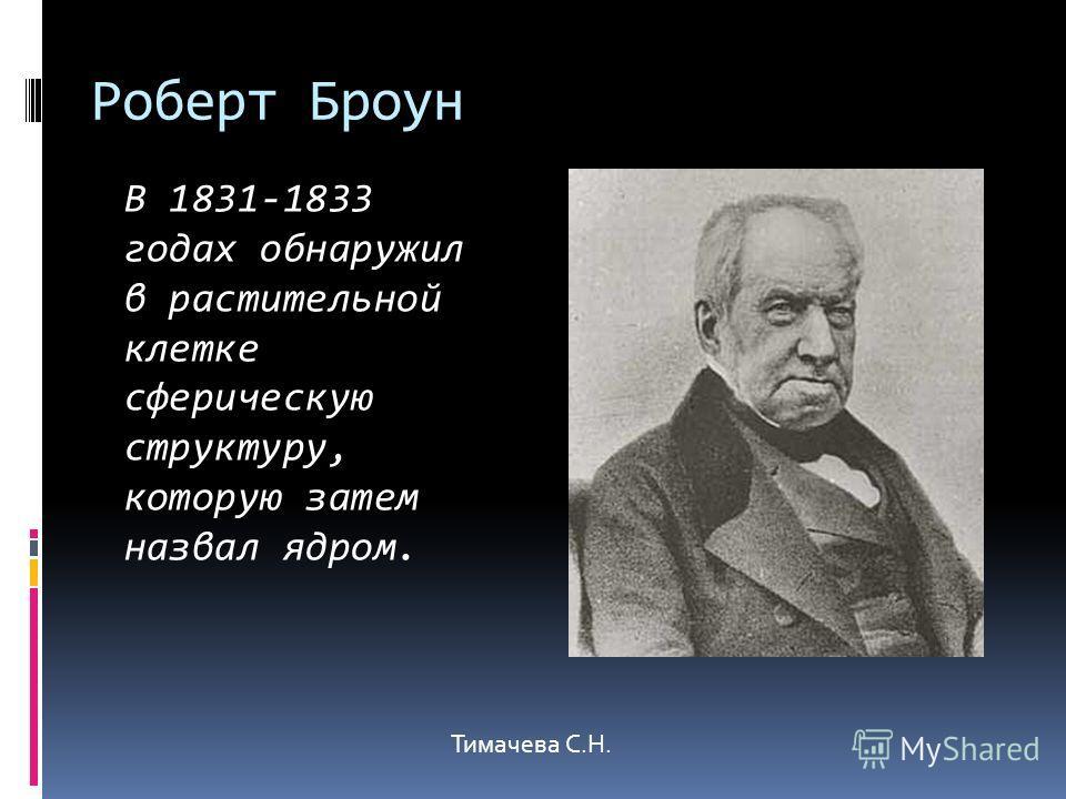 Роберт Броун В 1831-1833 годах обнаружил в растительной клетке сферическую структуру, которую затем назвал ядром. Тимачева С.Н.