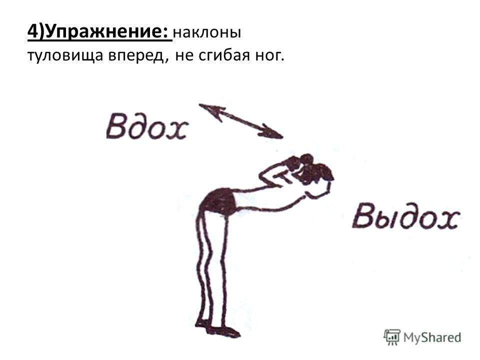 4)Упражнение: наклоны туловища вперед, не сгибая ног.