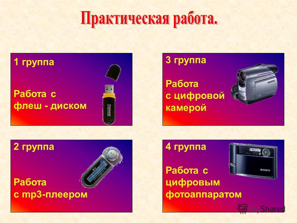 1 группа Работа с флеш - диском 2 группа Работа с mp3-плеером 3 группа Работа с цифровой камерой 4 группа Работа с цифровым фотоаппаратом