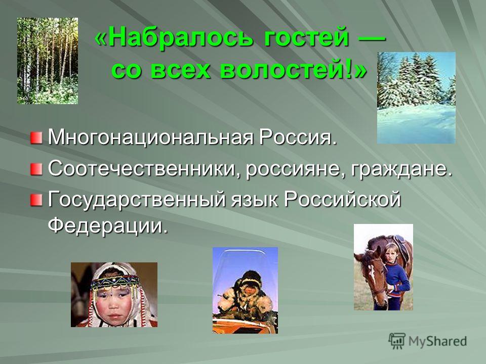«Набралось гостей со всех волостей!» «Набралось гостей со всех волостей!» Многонациональная Россия. Соотечественники, россияне, граждане. Государственный язык Российской Федерации.