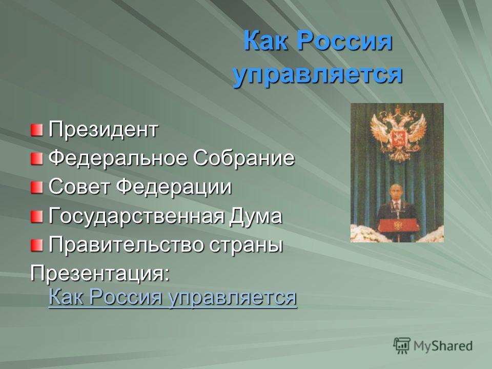 Как Россия управляется Как Россия управляется Президент Федеральное Собрание Совет Федерации Государственная Дума Правительство страны Презентация: Как Россия управляется Как Россия управляется Как Россия управляется
