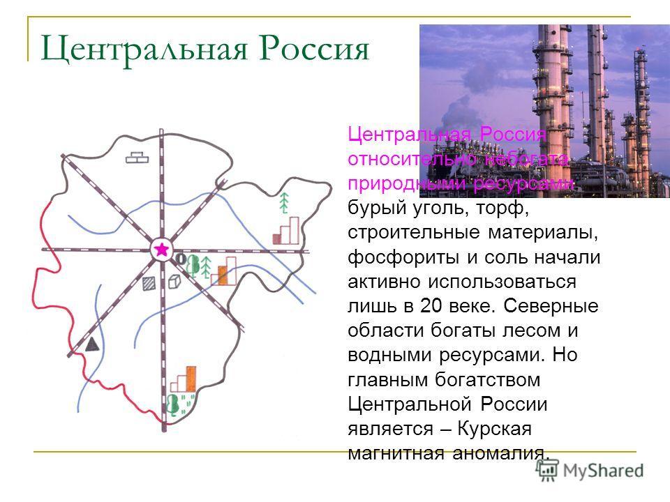 Центральная Россия Центральная Россия относительно небогата природными ресурсами: бурый уголь, торф, строительные материалы, фосфориты и соль начали активно использоваться лишь в 20 веке. Северные области богаты лесом и водными ресурсами. Но главным