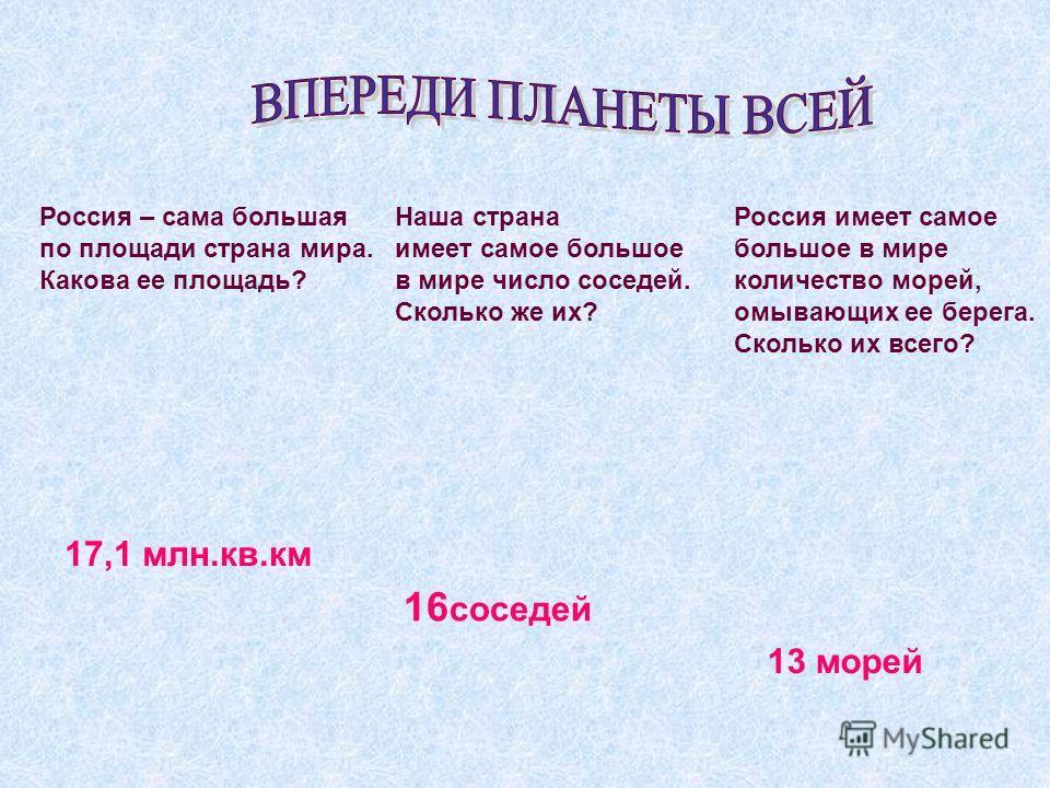 Россия – сама большая по площади страна мира. Какова ее площадь? 17,1 млн.кв.км Наша страна имеет самое большое в мире число соседей. Сколько же их? 16 соседей Россия имеет самое большое в мире количество морей, омывающих ее берега. Сколько их всего?