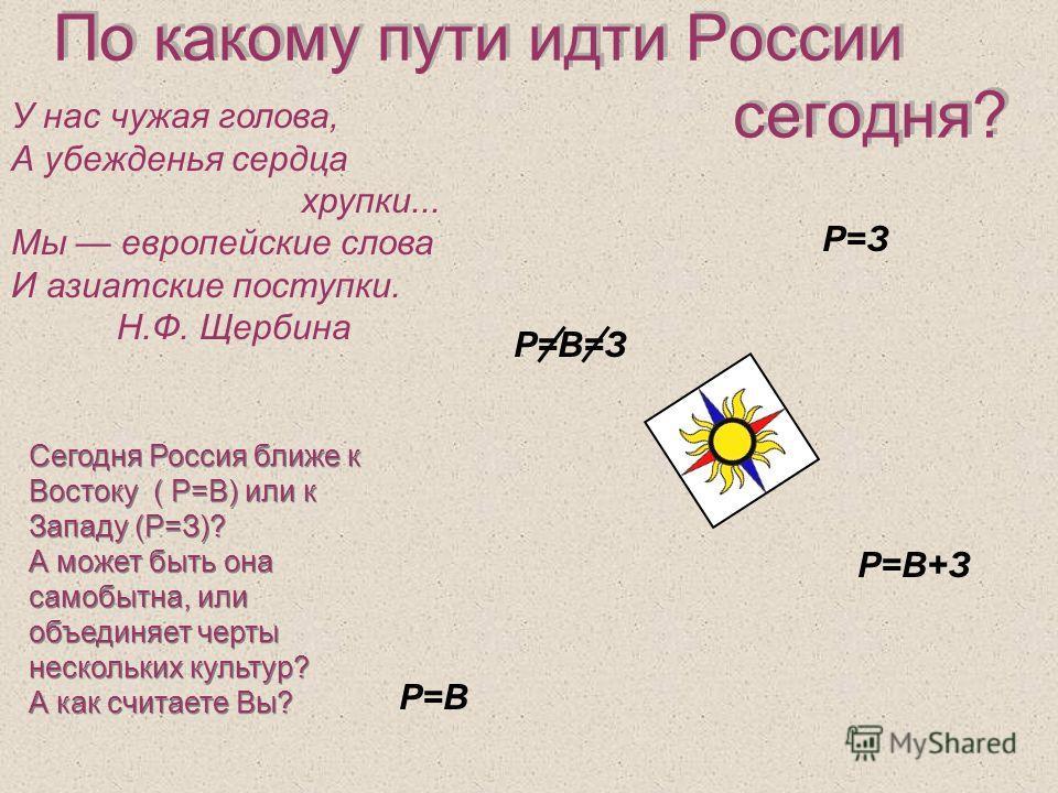 По какому пути идти России сегодня? У нас чужая голова, А убежденья сердца хрупки... Мы европейские слова И азиатские поступки. Н.Ф. Щербина Р=В Р=В+З Р=З Р=В=З Сегодня Россия ближе к Востоку ( Р=В) или к Западу (Р=З)? А может быть она самобытна, или