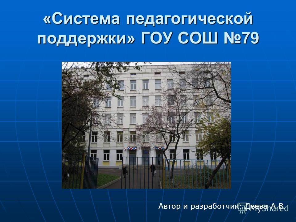 «Система педагогической поддержки» ГОУ СОШ 79 Автор и разработчик: Деева А.В.