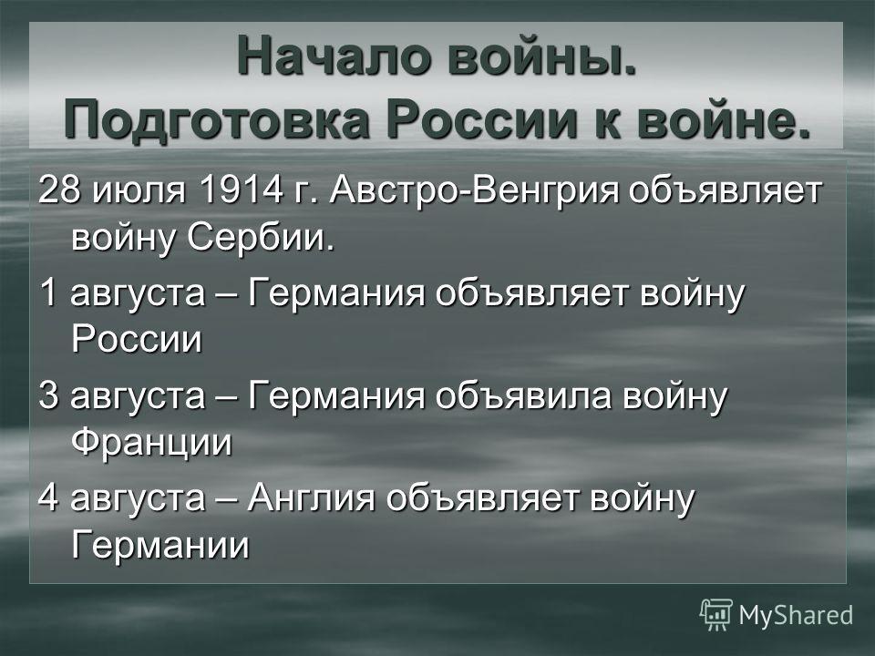 Начало войны. Подготовка России к войне. 28 июля 1914 г. Австро-Венгрия объявляет войну Сербии. 1 августа – Германия объявляет войну России 3 августа – Германия объявила войну Франции 4 августа – Англия объявляет войну Германии