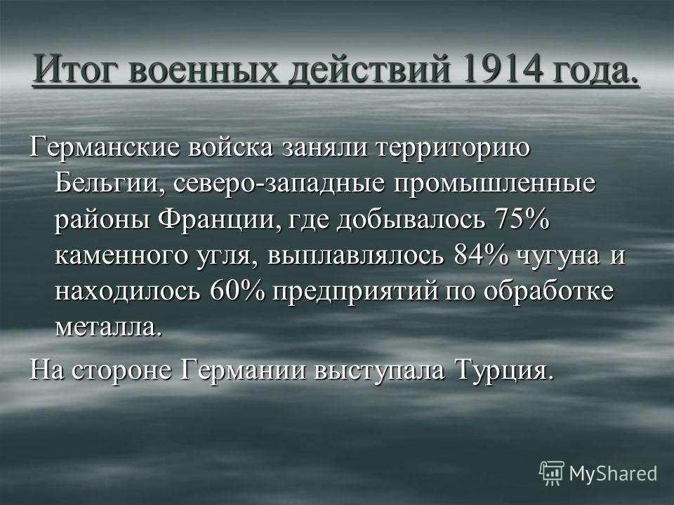 Итог военных действий 1914 года. Германские войска заняли территорию Бельгии, северо-западные промышленные районы Франции, где добывалось 75% каменного угля, выплавлялось 84% чугуна и находилось 60% предприятий по обработке металла. На стороне Герман