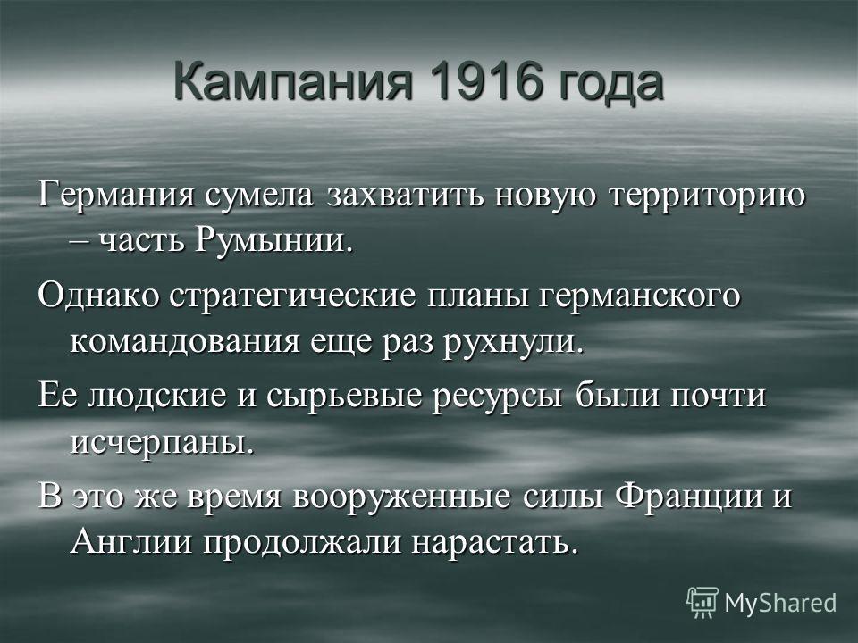 Германия сумела захватить новую территорию – часть Румынии. Однако стратегические планы германского командования еще раз рухнули. Ее людские и сырьевые ресурсы были почти исчерпаны. В это же время вооруженные силы Франции и Англии продолжали нарастат