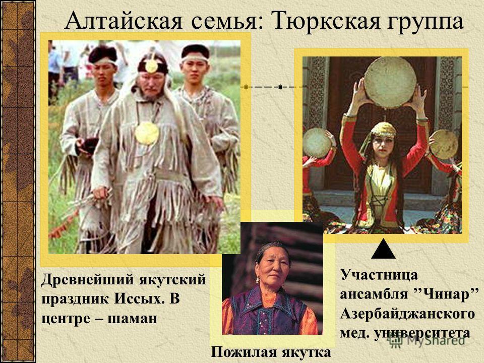 Древнейший якутский праздник Иссых. В центре – шаман Пожилая якутка Алтайская семья: Тюркская группа Участница ансамбля Чинар Азербайджанского мед. университета