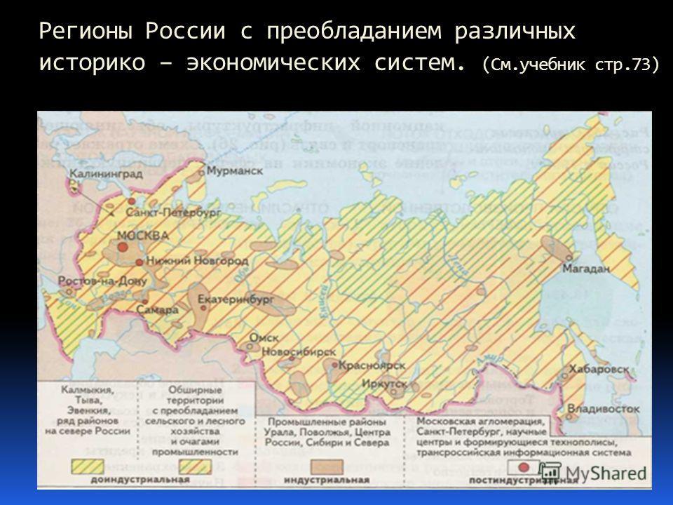 Регионы России с преобладанием различных историко – экономических систем. (См.учебник стр.73)