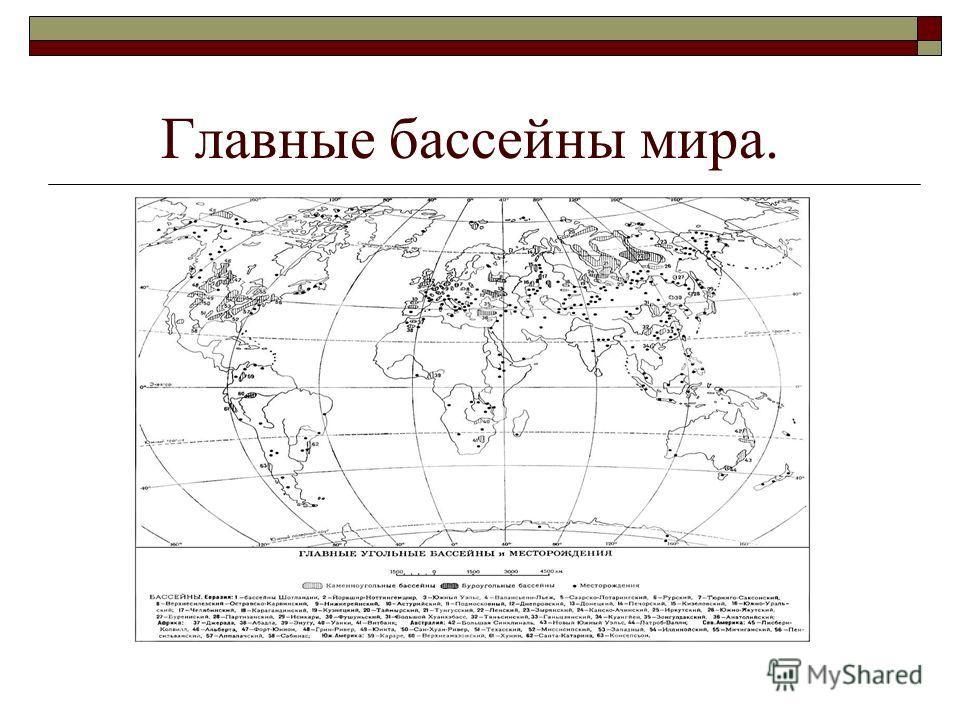 Главные бассейны мира.