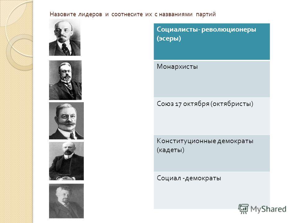 Назовите лидеров и соотнесите их с названиями партий Социалисты - революционеры ( эсеры ) Монархисты Союз 17 октября ( октябристы ) Конституционные демократы ( кадеты ) Социал - демократы