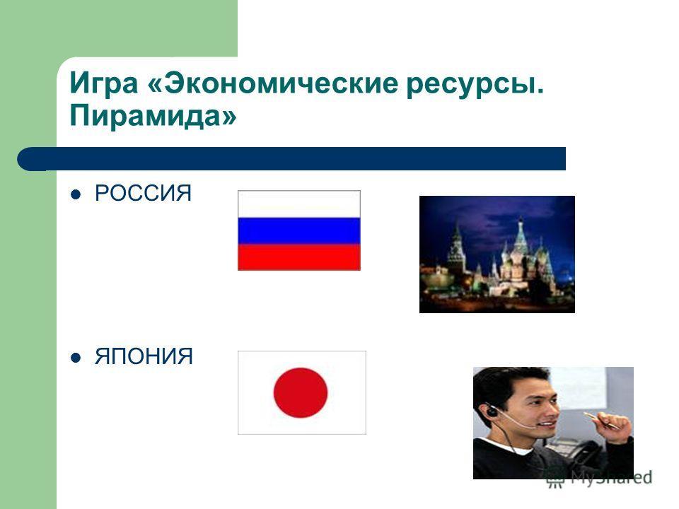 Игра «Экономические ресурсы. Пирамида» РОССИЯ ЯПОНИЯ