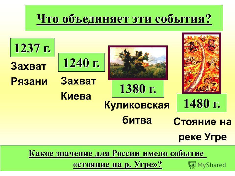 Захват Рязани 1237 г. 1240 г. 1380 г. 1480 г. Захват Киева Куликовская битва Стояние на реке Угре Что объединяет эти события? Какое значение для России имело событие «стояние на р. Угре»?