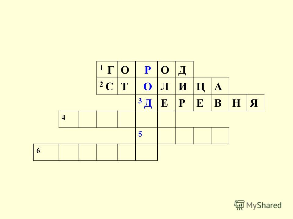 1 ГО РОД 2 СТ ОЛИЦА 3 ДЕРЕВНЯ 4 5 6