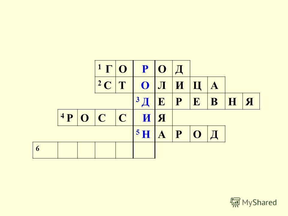 1 ГО РОД 2 СТ ОЛИЦА 3 ДЕРЕВНЯ 4 РОСС ИЯ 5 НАРОД 6