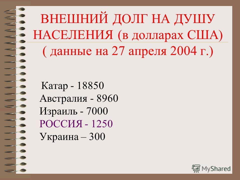 Государственный долг ? Государственные займы, взятые у населения (например, облигации); займы у государственного банка ? Выплаты иностранным гражданам, фирмам, государствам