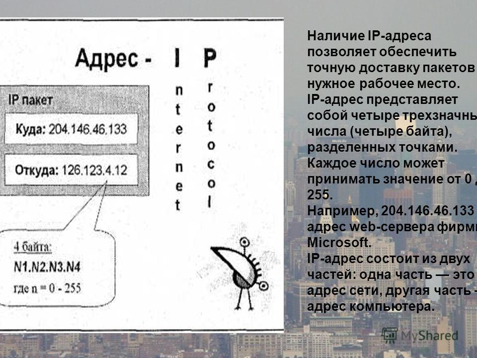 Наличие IP-адреса позволяет обеспечить точную доставку пакетов на нужное рабочее место. IP-адрес представляет собой четыре трехзначных числа (четыре байта), разделенных точками. Каждое число может принимать значение от 0 до 255. Например, 204.146.46.
