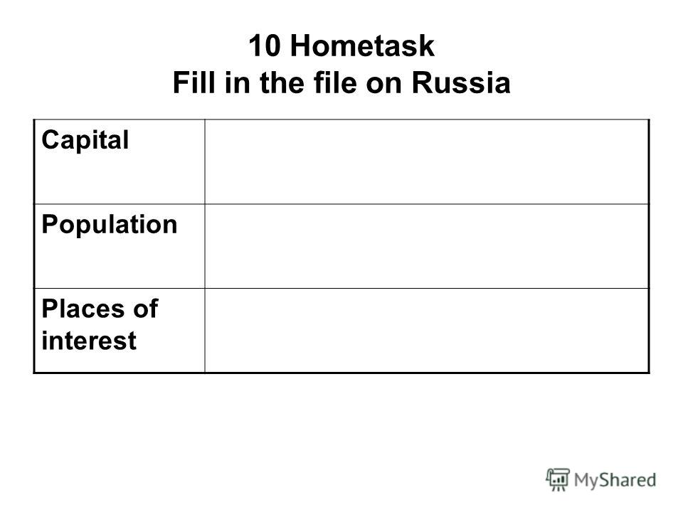 10 Hometask Fill in the file on Russia Capital Population Places of interest