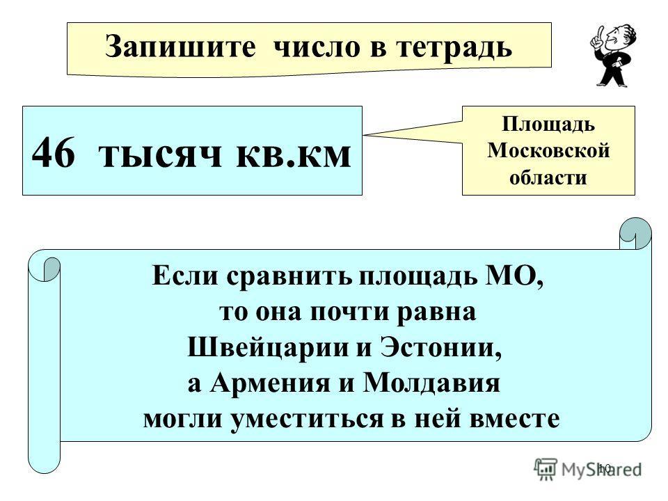 10 Запишите число в тетрадь 46 тысяч кв.км Площадь Московской области Если сравнить площадь МО, то она почти равна Швейцарии и Эстонии, а Армения и Молдавия могли уместиться в ней вместе